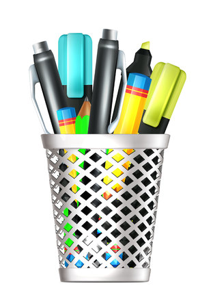 Isolated Realistic Pencil Box  Vector