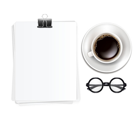 Cup of Coffe with Glasses and Blank Sheets of Paper  Vector