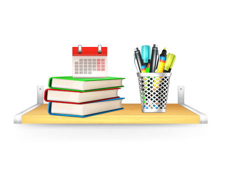 Books, Pencil Box, Calendar on Shelf  Vector