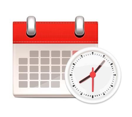 White Clock and Calendar  Illustration
