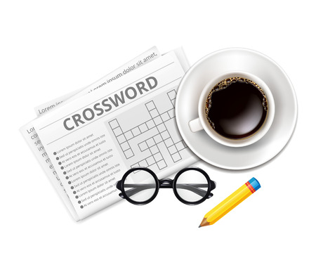 クロスワード、メガネ、一杯のコーヒー  イラスト・ベクター素材
