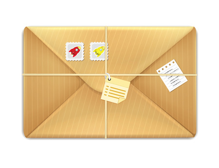 postage stamps: Realistic Envelope with Postage Stamps  Illustration