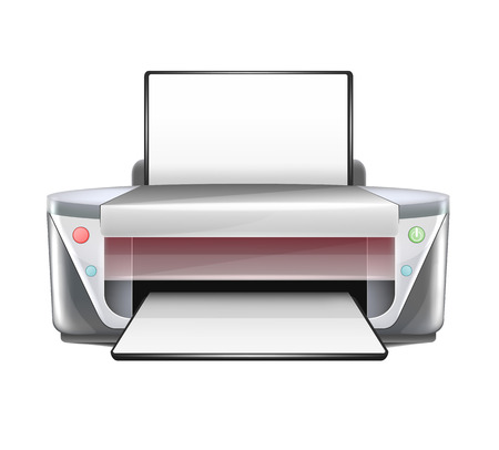 multifunction printer: Isolated Realistic Printer  Illustration