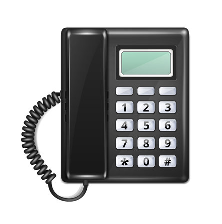 cable telefono: Aislado realista Tel�fono Vista Superior