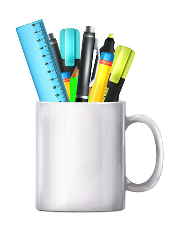 pencil box: White Big Mug Pencil Box