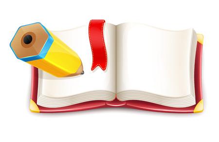 Cartoon Open Book with Pencil