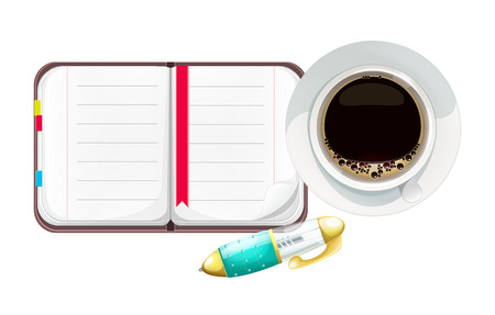 moleskin: Cartoon Open Notebook with Pen and Cup of Coffee