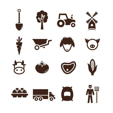 carrot: Stock vector farm pictogram icon set Illustration