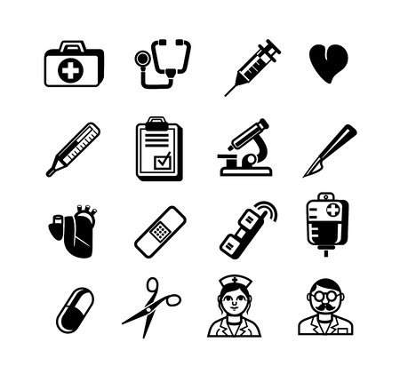 scalpel: Stock vector black medical pictogram icons set