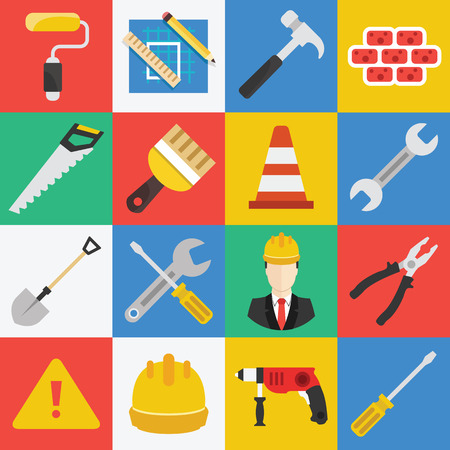 construction equipment: Vector flat working tools icons set.