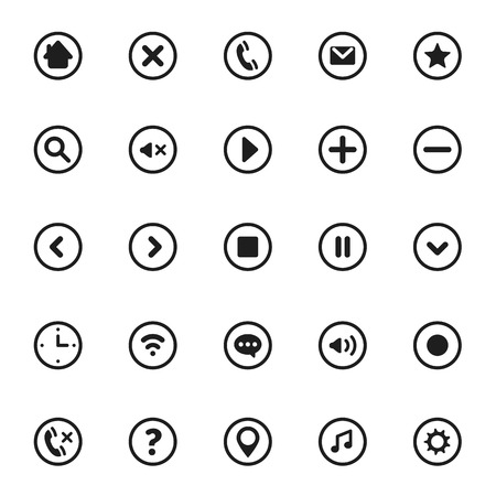 plus icon: Vector Mobile User Interface Pictograms and Symbols Set