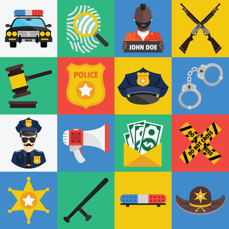 condemnation: Vector flat icons set of police symbols