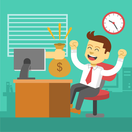 win money: Businessman win. Online business deal. Illustration