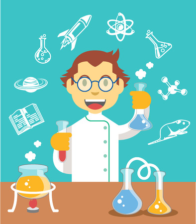 Chemiewissenschaftler Farbe Flach Illustration