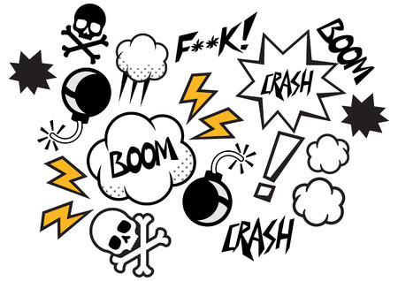 boom box: Vector comic speech bubbles illustration