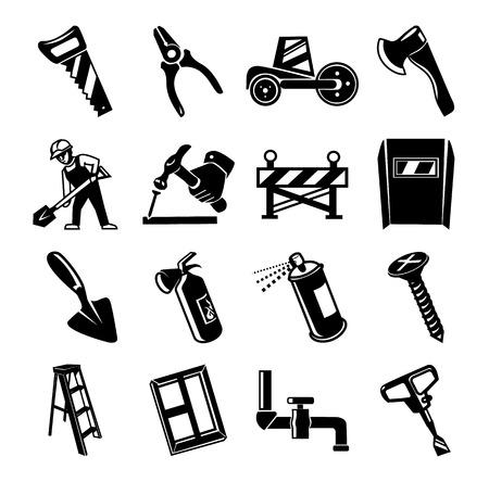 repair man: Home repair construction black icon set