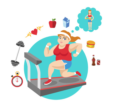 Fat girl sport flat illustration