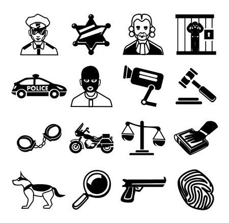 police black Icons set Vector