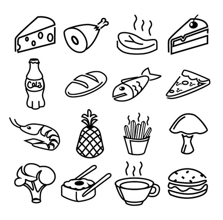 food black icons set Vector