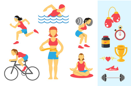 womans sport and fitness infographics. Color flat icon set Vector