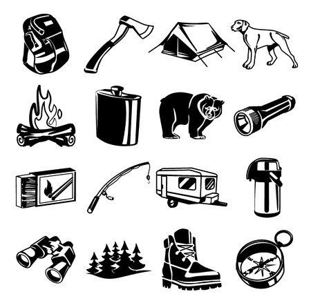 Vector black camping icon set Vector