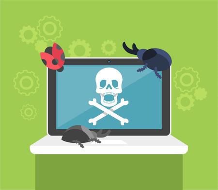 pirated: Computer bug. Flat vector illustration