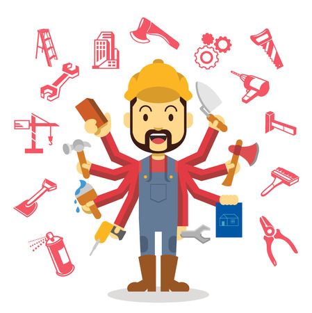 multitasking: Builders flat illustration. Icon set