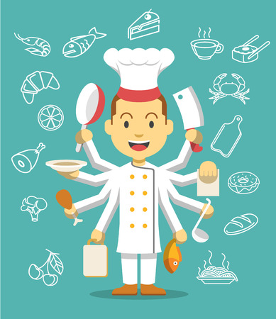 multitasking: Chef is cooking. Flat illustration icon set