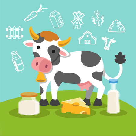 Vector flat cow. Illustration farm Vector