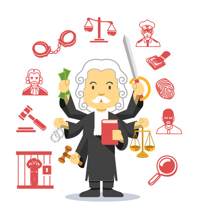lawyer in court: Judge vector flat illustration icon set