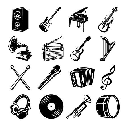 drum set: Music black Icons set