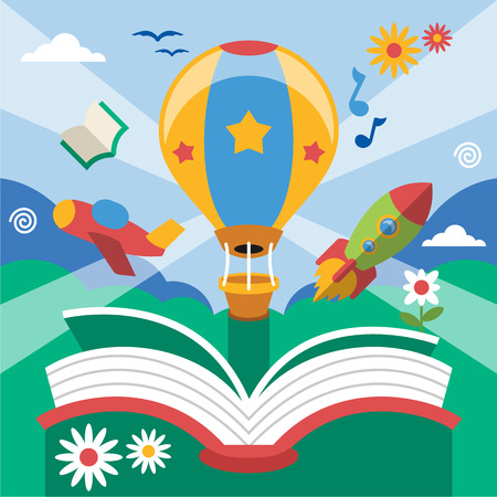 person reading: Vector flat open book Illustration