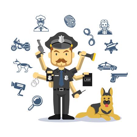 perro policia: Crimen Vector y hombre de la polic�a