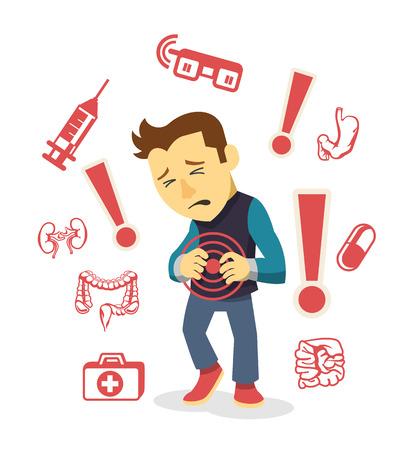 dolor de estomago: Hombre enfermo. Vector ilustración plana Vectores
