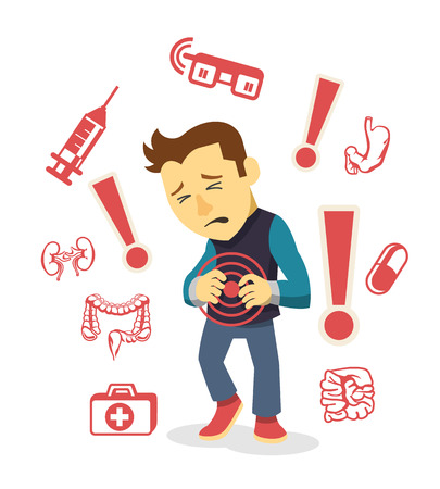 stomach pain: Sick man. Vector flat illustration
