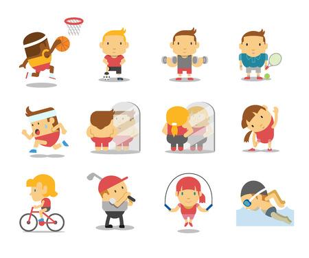 basketball cartoon: Vector sport and fitness infographics