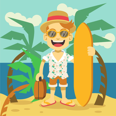 surfing beach: Happy tourist flat illustration