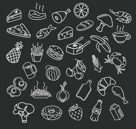 fried potatoes: Vector food menu elements icon set