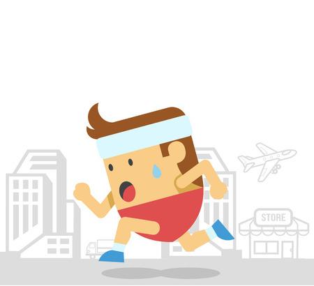 athlete cartoon: Man runs. Vector flat illustration