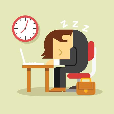 dormir: Hombre de negocios durmiente. Vector ilustración plana Vectores