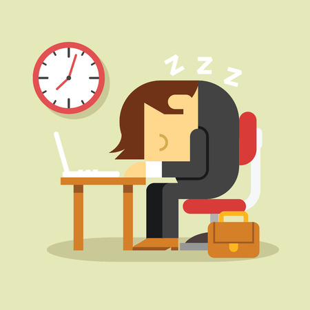stressed businessman: Sleeping businessman. Vector flat illustration Illustration
