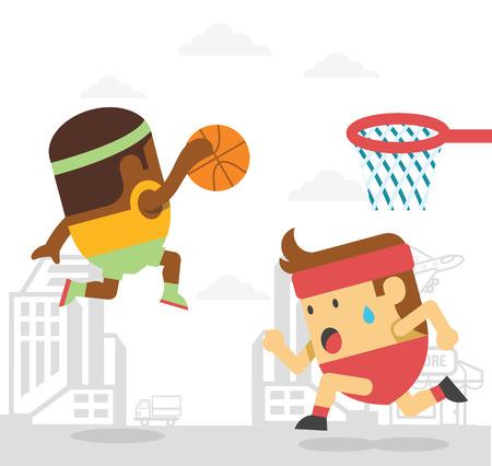 throw up: Men playing basketball. Vector flat illustration