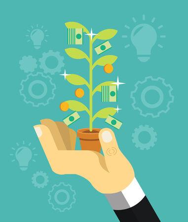 reforestaci�n: El crecimiento del dinero en la mano. Vector ilustraci�n plana Vectores