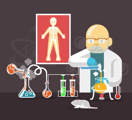 experimentation: Chemistry scientist color flat vector illustration