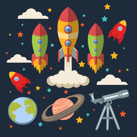 outer space: Vector flat space elements. Icon set