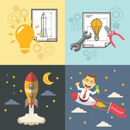 start up: Start up vector flat illustration set