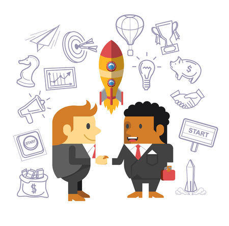 sales meeting: Business people shaking hands. Start up flat vector illustration