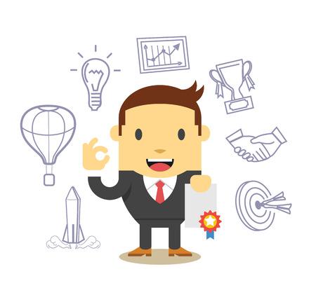 new job: Vector flat businessman. Icon set