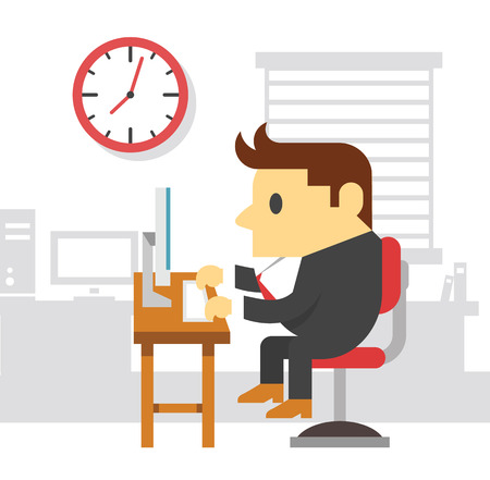hard working man: Office work man. Vector flat illustration