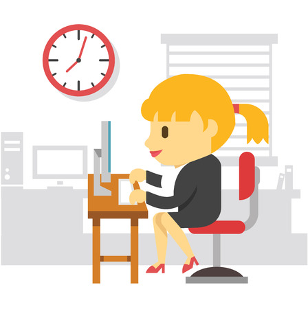 hard working man: Office work woman. Vector flat illustration